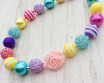 little girl chunky bead necklace pink yellow blue bubble gum chunky baby necklace big girl necklace big bead necklace