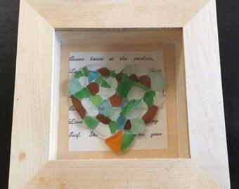 Half Price Sale. Real Sea Glass Heart  Shadowbox/ Diorama Picture / Wall Art / Beach Decor
