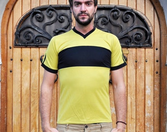 Vintage Mustard and Black Trefoil Adidas V Neck Fitted T Shirt