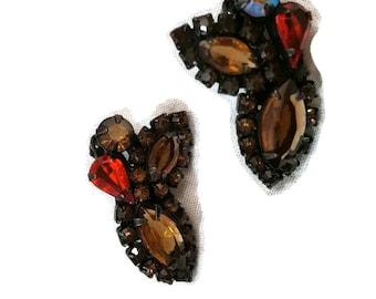 Weiss Earrings, Rhinestone Earrings, Weiss Jewelry, Rhinestone Jewelry, Clip On Earrings, Amber, Topaz, Wedding Jewelry, Gifts for Grandma