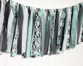 Mint and Grey Rag Ribbon Banner