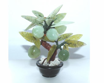 Chinese jade and hardstone peach tree. Small size Jade Bonsai tree