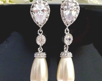 Cream Ivory Swarovski Teardrop Pearl with Round Cubic Zirconia Drop with White Gold Plated Peardrop CZ Post Earrings