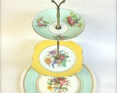3 Tier Vintage Cake Stand Johnson Bros Colclough Salisbury Blue and Yellow
