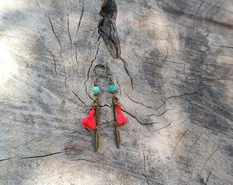 Strawberry Red Tassel Earrings with Amazonite