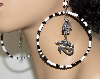 Large Beaded Hoop Earrings - Cat Eye Afrocentric Jewelry Egyptian Eye of Ra Eye of Horus Ankh Earrings