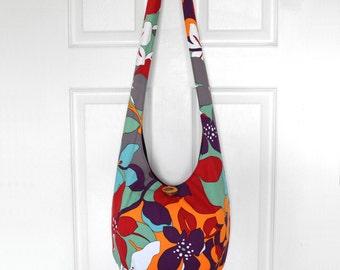 Hobo Bag Hippie Purse Sling Bag Crossbody Bag Hobo Purse Boho Bag Bohemian Purse Floral Fabric Purse Handmade Purse Hippie Bag Slouchy Bag