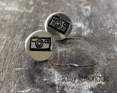Camera Earrings / Hand Stamp Surgical Steel Earrings / Dainty Camera Studs / Snap It