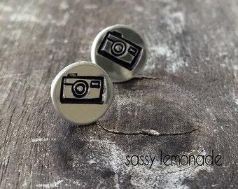 Camera Earrings / Hand Stamp Surgical Steel Earrings / Dainty Camera Studs / Snap It