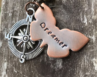 Wanderlust Dreamer Necklace / Hand Stamped Butterfly Necklace Compass Silver / Boho Gypsy  ON SALE