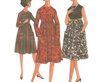 McCalls 7101 Vintage 1960s Sewing Pattern Junior Teen Size 13-14 Easy Dress High Waist Three Gore Gathered Skirt Sleeveless Jewelry Neck