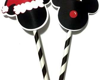 Christmas Mickey Mouse Inspired Straw Toppers