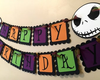 Jack Skellington Nightmare Before Christmas Inspired Happy Birthday Banner or Happy Halloween Banner