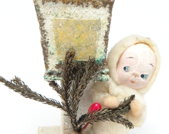 1940's Snow Baby Ornament, Antique Spun Cotton Doll with Hand Painted Face for Christmas