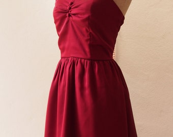 Dress in Maroon Burgundy Dress Wine Dress Vintage Inspired Party Prom Dress Evening Burgundy bridesmaid dress -XS-XL, custom