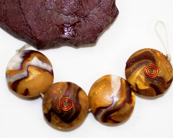 Handmade Polymer Clay 4 Piece Bead Set-Butterscotch-Cinnamon-Copper-Gold-Pearl Lentil Beads-PA 474