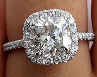 Estate Vintage 3ct CUSHION Diamond Solitaire Engagement Halo Platinum Ring