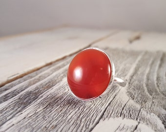 Red Hot - Translucent Red Natural Agate Dome Statement Ring