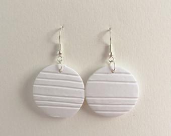 White Stripe Circle Drop Earings