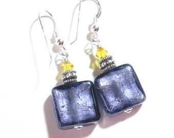 Murano Glass Plum Square Silver Earrings, Clip On Earrings, Murano Glass Jewelry, Lampwork Earrings, Leverback Earrings, Purple Earrings