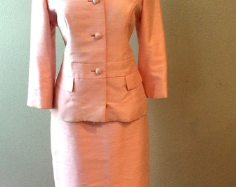 1960s Pink Raw Silk Suit Extra Small XS