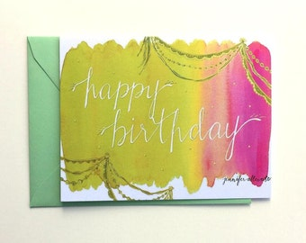 Happy Birthday card watercolor bright colorful hand lettering