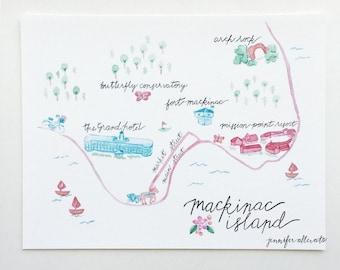 Mackinac Island Michigan art print state map