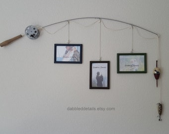 Fishing Pole Picture Frame - Silver or Brown Pole - 3 - 4 in x 6 in Picture Frames - Midnight Blue, Bittersweet Choc, Forest