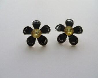 Vintage Black Enamel Flower Earrings