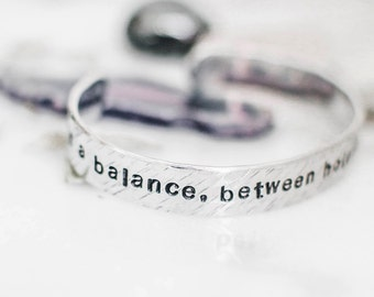 Life is a balance between holding on and letting go Rumi quote bracelet. Inspirational gift. Yoga jewelry. Hand-stamped quote cuff RTS CA023