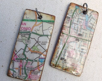 2 handmade Rectangle shaped map charms / jewelry supplies / mixed media / upcycled / altered art / repurposed / craft supplies / charms