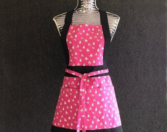 Full Apron, modern Japanese print with french bulldogs on pink, cotton/linen blend.