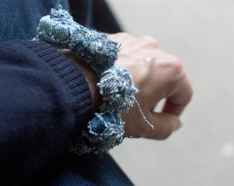 Recycled jeans bracelet, eco-friendly textile jewelry, denim fiber bracelet, OOAK