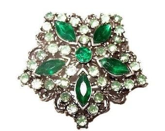 """Green Rhinestone Brooch Pin Silver Metal Snowflake Flower Design 1 3/4"""" Vintage"""