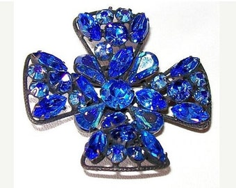 "Maltese Cross Brooch Regency Signed Heliotrope Blue Rhinestones Black Metal 2"" Vintage"