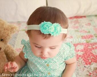 Petite Minty Baby Girl Shabby Chic Rose Headband - Newborn Mint Green Hair Bows - Girls Light Green Double Flower Headbands