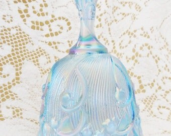 Retired Vintage Fenton, Lily of the Valley, Carnival Art Glass Bell, Lovely Pale Blue, Delicate Embossing