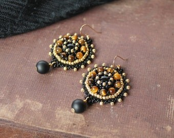 Black Gold Earrings Gemstone Earrings Beadwork Earrings Tigers eye Earrings Bead embroidered Earrings Black Dangle Earrings Gift idea