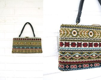 Vintage 60s carpet tapestry grandma boho hippie small handbag purse