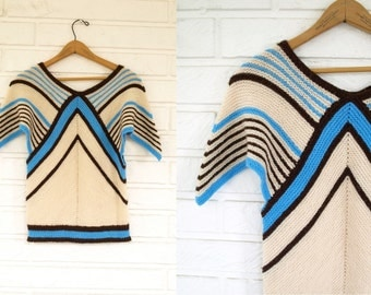Vintage 70s hand knit hippie sweater size xs or s