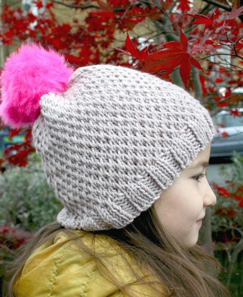 Knit Pom Pom Hat Pattern : KNITTING PATTERN Pink pom pom slouchy hat knitting pattern