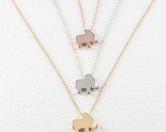 Elephant Necklace - Elephant Necklace Silver - Elephant Necklace Gold - Tiny Rose Gold Elephant Charm Necklace - Elephant Necklace for Women