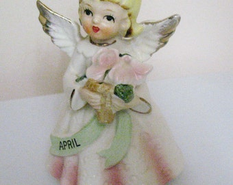 Porcelain April Angel Figurine with Halo Marked Japan