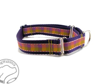 """Grape and Peach Plaid Dog Collar - 1"""" (25 mm) Wide - Side Release Buckle or Martingale Dog Collars - Choice of collar style and size"""