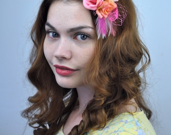 Mini Flower and Feather Hair Clip Fascinator in Pinkand Yellow
