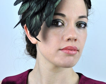 Glossy Black Feather Headband Fascinator