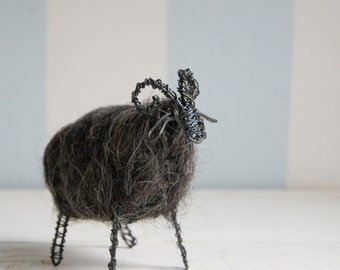 Wired ram with dark wool