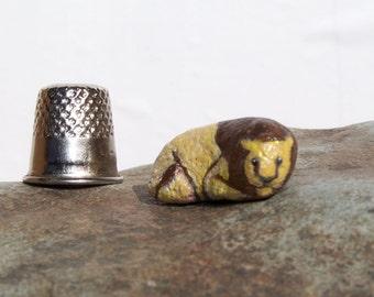 Lion, painted rock, fairy garden miniatures, fairy garden accessories, dolls & miniatures earthspalette