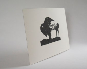 Black + White Bison Screen Print on  paper  graphic art The National Mammal
