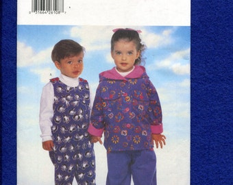 Butterick 5162 Jumpsuit with Shoulder Buttons & Rolled Cuffs and Hooded Jacket for Little Kids Size 1..2..3..4 UNCUT